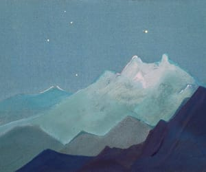 art, blue, and mountains image
