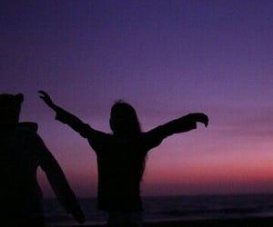 purple, friends, and sky image