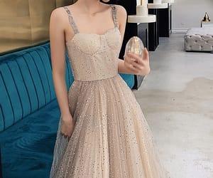 girl, glitter, and long dress image