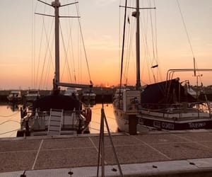 boats, sunset, and sunsetlover image