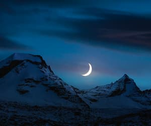 moon, mountains, and night image