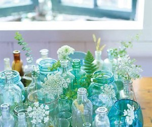 bottle, flowers, and blue image