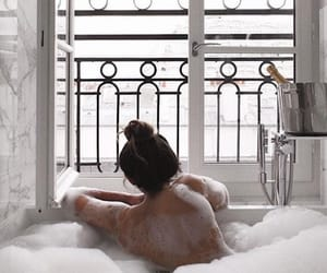 girl, bath, and white image
