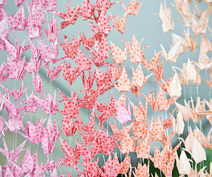 origami, pink, and crane image