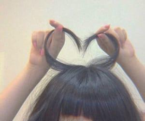 hair, heart, and girl image