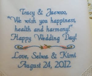 bride and groom, mother of the bride, and embroidered hanky image