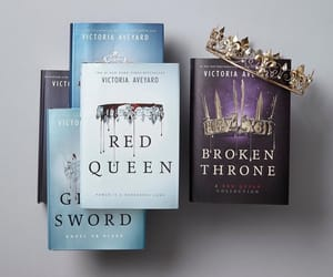 books, crown, and fantasy image