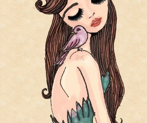 bird, girl, and hair image
