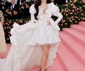 lily collins, dress, and met gala image