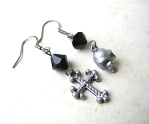 80s fashion, etsy, and skull earrings image