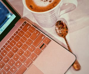 aesthetic, apple macbook, and cappuccino image