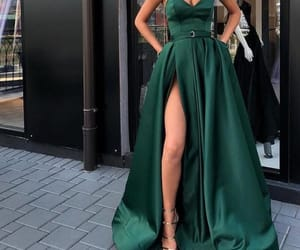 dresses, Prom, and green image