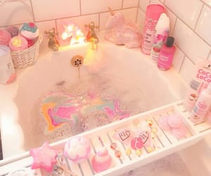 pink, bath, and unicorn image