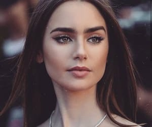 lily collins, eyebrows, and hair image