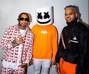 chris brown, marshmello, and famous image