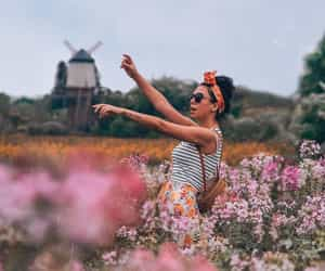 fashion, flower field, and photoshoot image