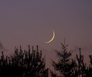 crescent moon, dusk, and emotion image