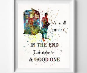 etsy, tardis print, and dr who watercolor image