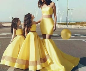 dress, yellow, and fashion image