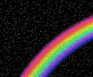 rainbow, wallpaper, and black image