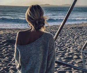 beach, bun, and girl image