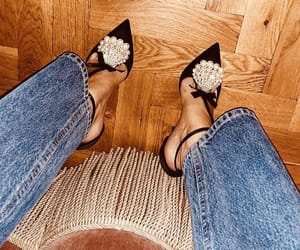 bling, heels, and jeans image