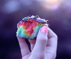 rainbow, cake, and cupcake image