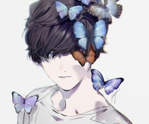 anime, butterfly, and boy image