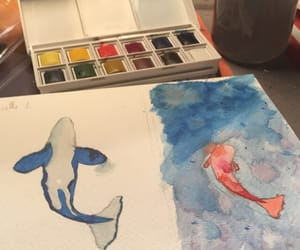 aquarelle, ocean, and paint image