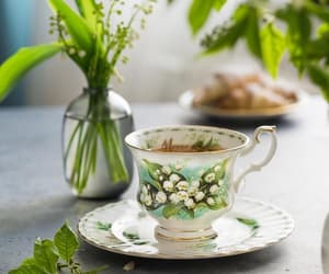 cup, cup of tea, and flowers image