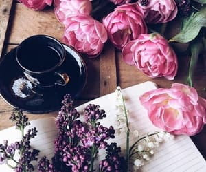 beautiful life, coffee time, and spring flowers image