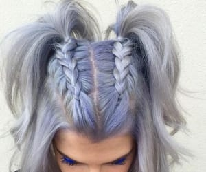 blue hair and braids image