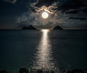 moon, night sky, and moon over water image