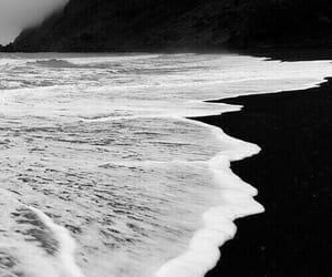 sea, black and white, and beach image