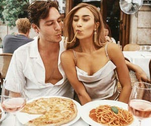 couple, love, and pizza image