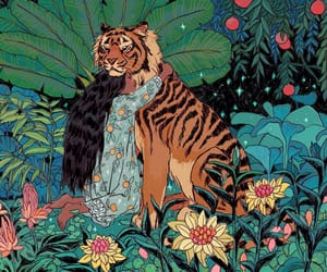 art, flowers, and tiger image
