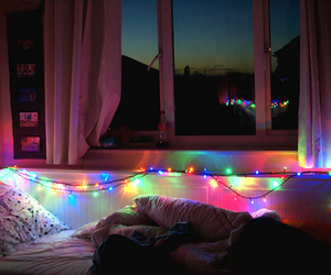 light, room, and bed image