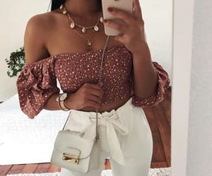 fashion, crop top, and outfit image
