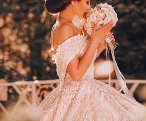 bride, flowers, and wedding dress image