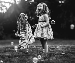 b&w, bubbles, and playing image