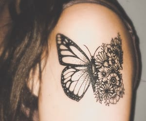 arm, flowers, and butterfly image