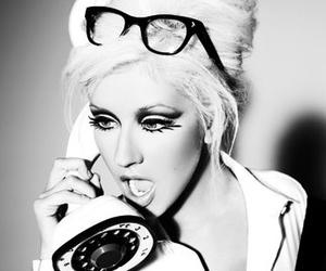 christina aguilera, telephone, and black and white image