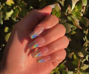 nails, holographic, and rainbow image