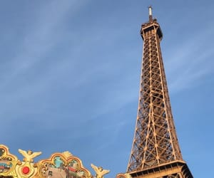 blue, eiffel tower, and sky image