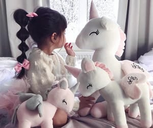 girl, baby, and unicorn image