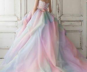 dress, rainbow, and wedding image