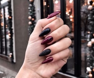 black, nails, and wine red image
