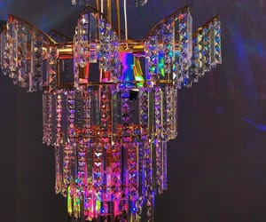 chandelier, colorful, and crystal image