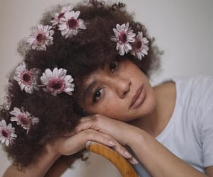 Afro, flowers, and freckles image