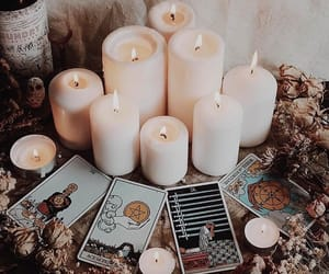 candle, tarot, and herbs image